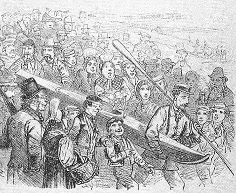 Grabado de MacGregor llevando su piragua